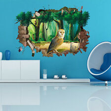 3D Window Owl Jungle Mural Removable Wall Stickers Art Vinyl Decal BedRoom Decor