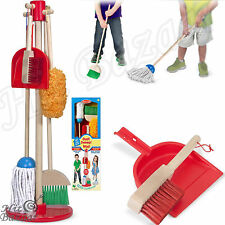 Kids Play Pretend Toy Cleaning Set Toddler Children Broom Mop Wooden Housekeepin