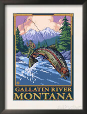 Fly Fishing Scene, Gallatin River, Montana Framed Art Poster Print, 14x18.5