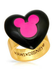 DISNEY Mickey Mouse Heart  Ring in Pink  Enamel and Gold Plated Base Metal.