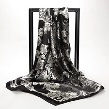 "Women's Black Paisley Scarf Printed Soft Satin Square Head Shawl 35""*35"""