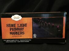 NEW 10 STAKES ~  Halloween Stake Lights Pathway Markers 9FT Outside Decor PURPLE