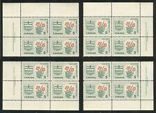 Canada #426, 1966 5c Wild Rose & Arms of Alberta, 4-Corner PB4 Set, Unused NH