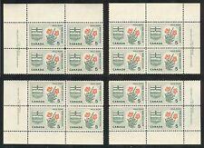 Canada #426, 1966 5c Wild Rose & Arms of Alberta, 4-Corner PB4 Set, Unused NH