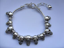 Lovely Silver SKULL Chain Bracelet  with Eleven  Charms