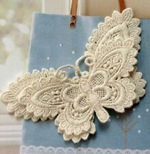 Beautiful Cream LACE BUTTERFLY Sew On Patch Badge Motif Applique Badge Craft
