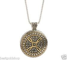 QVC Steel by Design Round Medallion Pendant Venetian Box Chain Necklace J261285