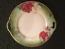 "Thomas Sevres Bavaria Cake 10"" Plate Hand Painted  Roses Mentone"