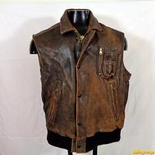 AVIREX B-9 Vtg USA Soft Leather Vest Mens Size L Distressed Brown buttoned