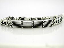 King Baby Mens Sterling Silver Curb Link Rivet ID Bracelet NWT