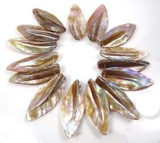 40-50mm Natural Lustrous Rainbow Mother of Pearl Leaf Pendant Beads