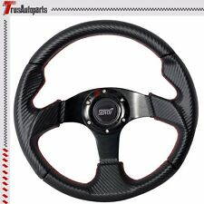 320MM Steering Wheel PVC Leather Carbon Red Stitch STI Horn Button For Subaru