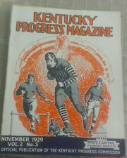 1929 KENTUCKY PROGRESS MAGAZINE - LEATHER HELMET FOOTBALL PLAYERS ON COVER