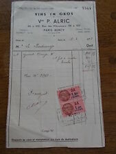 1943 French Wine Receipt Ephemera Bill VINS EN GROS P ALRIC PARIS BERCY France