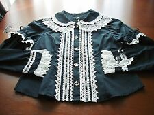Maxicimam MAM Gothic Lolita Black with White Lace Crown Button Blouse Used Faded