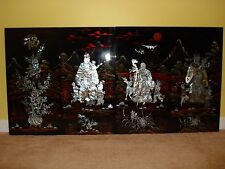 Traditonal Vietnamese 4 Panels Raised Mother of Pearl Lacquer .