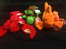 Retired Beanie Baby and Teenie Lot Speedy 3rd HT, Goldie 4th HT, Pinchers 4th HT
