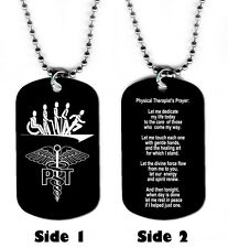 DOG TAG NECKLACE - Physical Therapist's Prayer Medical Jesus God Healing Health