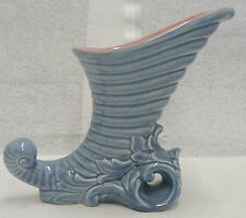 RED WING POTTERY  BLUE CORNUCOPIA VASE WITH PINK INSIDE # 1095