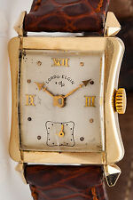 Vintage 1940s Lord Elgin 14k Yellow Solid Gold Mens TANK Dress Watch FANCY LUGS