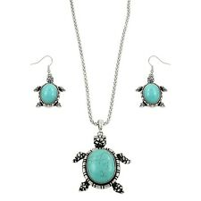 "Sea Turtle Fashionable Gemstone Necklace & Earring Set - Fish Hook - 16"" Chain"