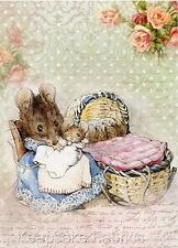 Beatrix Potter Mice Mother & Babies Crazy Quilt Block FrEE ShiPPinG WoRld WiDE c