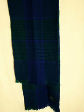 "FORECASTER ACRYLIC WASHABLE SHAWL 60"" X 10"" GREEN/PURPLE TARTAN TASSLED FRINGE"