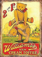 Vintage Food, 98, Williams's Toffee, Teddy Bear Old Shop, Mini Metal/Steel Sign