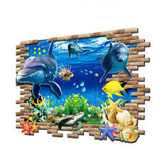 Sea Whale Fish 3D Wall Stickers Removable Decoration DIY PVC Sticker Decals