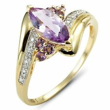 Fashion Size 6 Amethyst Sapphire 10K Gold Filled Engagement Ring For Women's