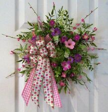 FLORAL DOOR WREATH~PINK WIRED BOW & MULTI-COLORED FLOWERS