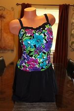 Azul By Maxine Of Hollywood Swim Dress Black Floral Tropical Swimsuit Size 18