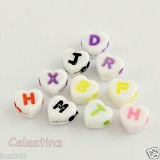 100 White Alphabet Letters Beads 7mm Heart Mixed Colours (App 4 of each letter)