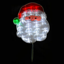 38 x 45cm PVC Santa Face Garden Stake Outdoor Christmas Light Up Decoration New