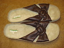 EARTH brown leather comfort sole SANDALS slip-ons slide mules flat shoes 8.5