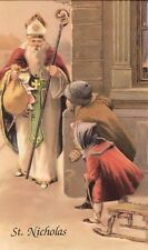 Saint Nicholas Bringing Gifts Christmas Holy Card with the Children's Prayer