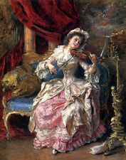 Art Oil Eduardo Leon Garrido - A Musical Afternoon young lady playing violin