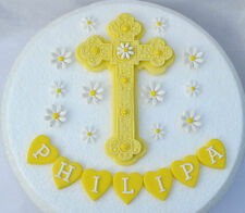 Edible large cross & flowers Personalised Christening / Baptism cake topper YELL
