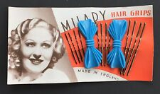 "Vintage Hair Barrettes - ""Milady"" Blue Bow Barrettes with 3 Size Bobby Pins"