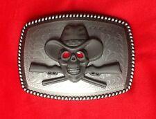 WESTERN CROSSED RIFFLE GUNS GUN SKELETON SKULL COWBOY HAT WILDWEST BELT BUCKLE