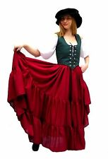 RENAISSANCE COSTUME DRESS-UP PIRATE WENCH BELLY DANCE TRIBAL RUFFLE SKIRT #SkS25