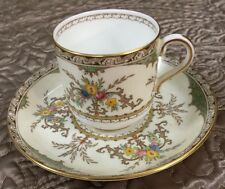 MINTON china CHATHAM green/ivory S123 pattern Demitasse Cup And Saucer Set