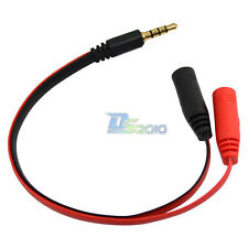 "3.5mm Input 1/8"" 4 pole male to 2 3.5mm female AUX Audio Y Splitter Adapter Cord"