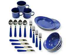 Enamel Tableware Set 24 Piece Dinnerware Camping Home Outdoors RV Kitchen Plate