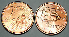 2002 Greece 2 Cents Coin Unc from Roll BU Nice KM#182