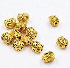 Free Ship 5pcs Gold Plated Buddha Head Spacer Beads Jewelry Making 10x8mm