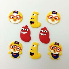 Hot Cartoon Pororo Larva Shoe Charms for Croc Fits Shoes & Wristband 8pcs