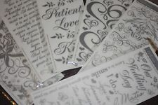 6 Sheets Silver Hearts Roses Love Wedding Scrapbooking Rub On Transfer Stickers