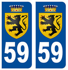 59 LION DES FLANDRES NORD DEPARTEMENT IMMATRICULATION 2 X AUTOCOLLANTS STICKER
