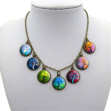 Tree Life Multi Cabochon Charm Necklace Adjustable Chain Antiqued Pendant Yoga